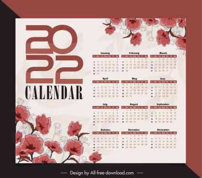 2022 calendar template elegant classical handdrawn botany