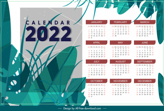 2022 calendar template elegant classical leaves decor