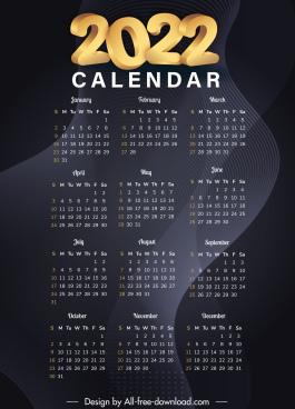 2022 calendar template elegant dark abstract swirled lines