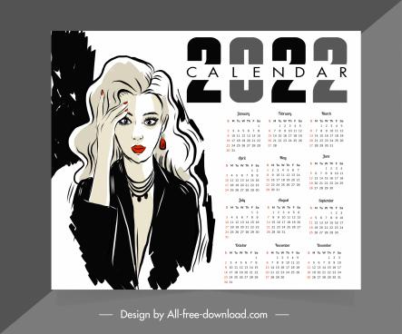 2022 calendar template elegant lady sketch handdrawn design