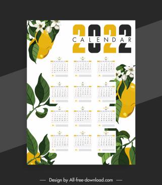 2022 calendar template fruits flora leaves decor