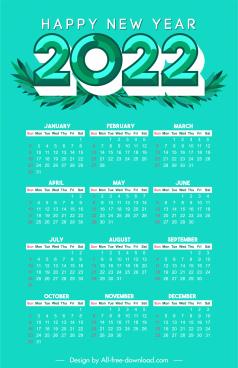 2022 calendar template green leaves grass decor