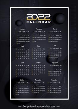 2022 calendar template modern elegant black dark decor