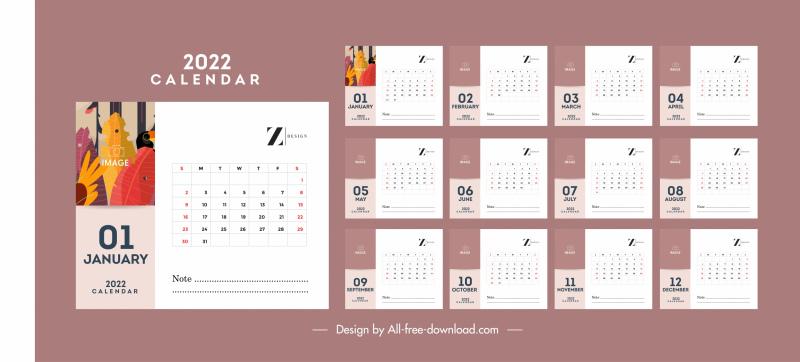 2022 calendar template simple bright classic flat decor