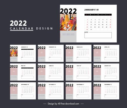 2022 calendar template simple bright white decor