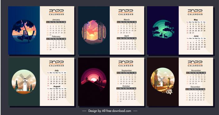 2022 calendar templates classical nature landscapes sketch