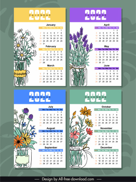 2022 calendar templates colorful classic botanical handdrawn