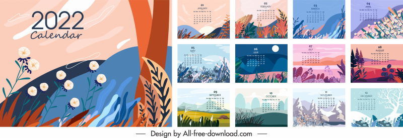 2022 calendar templates colorful classical elegant nature theme