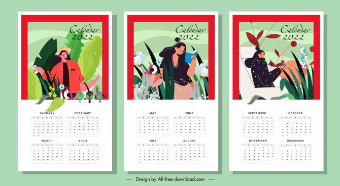 2022 calendar templates lifestyle nature elements decor