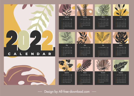 2022 calendar templates nature themes classical handdrawn leaf
