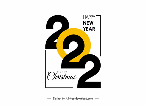 2022 greeting poster template contrast design numbers decor