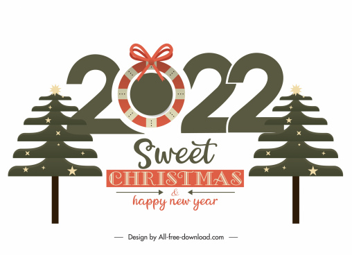 2022 greeting poster template fir trees numbers decor