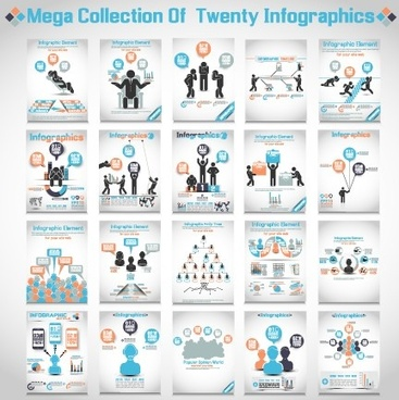 20 kind business infographics vector set