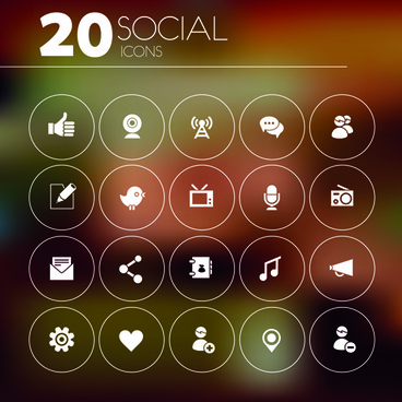 20 kind social icons vector