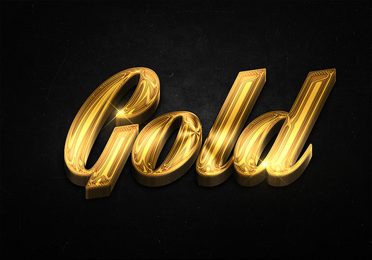 22 3d shiny gold text effects preview