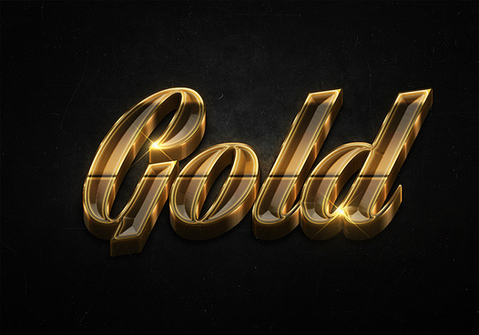 23 3d shiny gold text effects preview