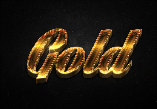 24 3d shiny gold text effects preview