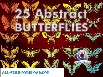 25 Abstract Butterflies in Vector
