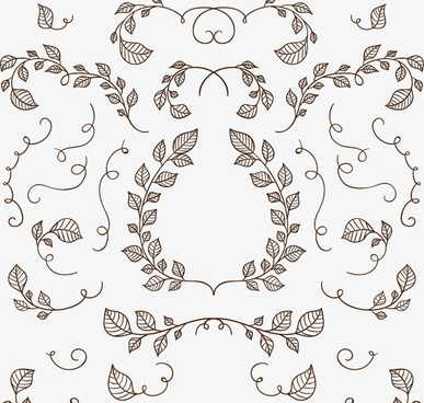 25 hand painted branches and leaves vector