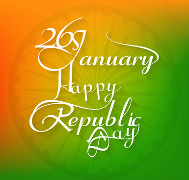 26 january beautiful calligraphy happy republic day text tricolor background design vector