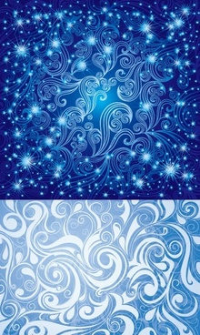 2 beautiful blue pattern vector