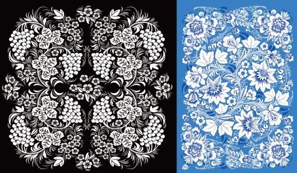 2 beautiful pattern vector