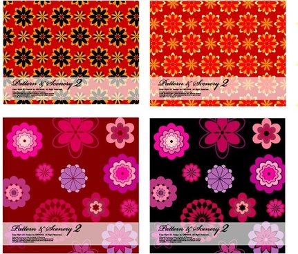 2 bright flowers vector background base map
