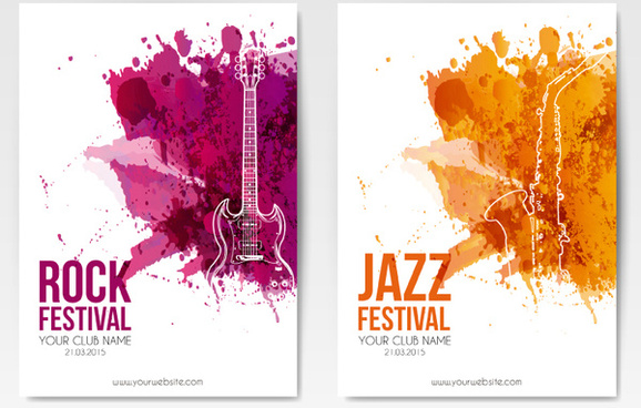 2 music festival leaflets vector