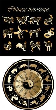 2 sets of 12 zodiac vector