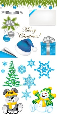 2 sets of christmas element vector