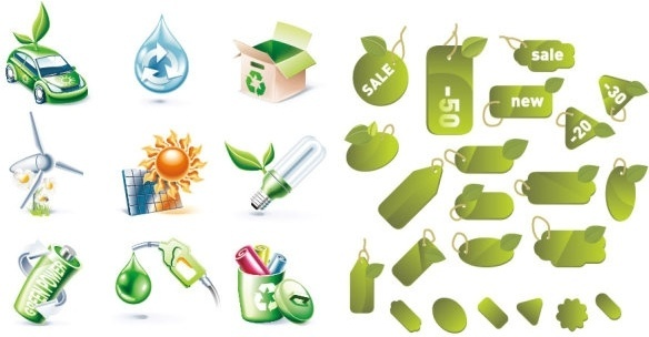 2 sets of green icon vector