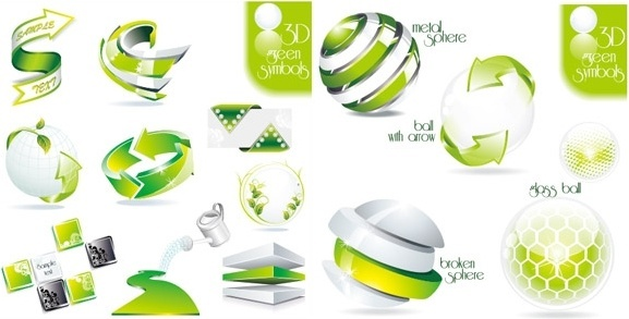 2 sets of green icon vector dimensional