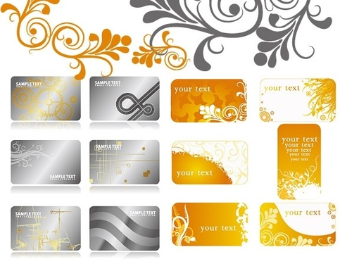 2 sets of pattern background card template vector