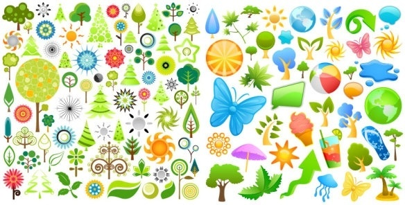2 sets of summer theme icon vector