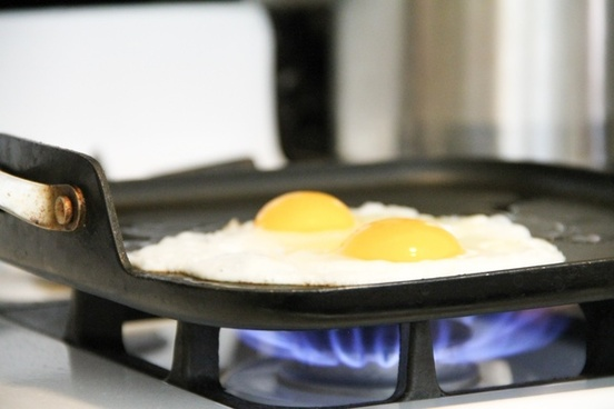 2 sunny side up eggs cooking on frying pan