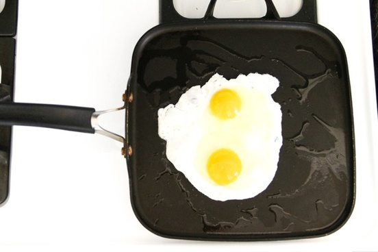 2 sunny side up eggs cooking on skillet