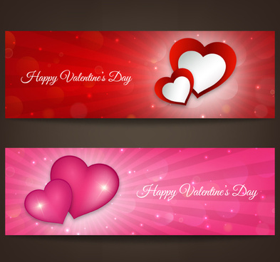 2 valentine8217s day love banner vector