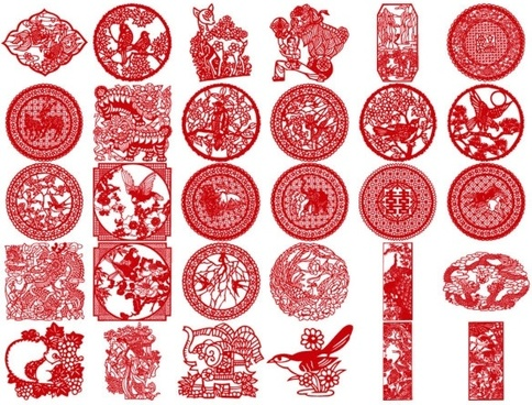 30 of the classical papercut pattern vector