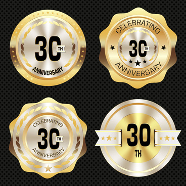 30th anniversary medal icons with shiny golden design
