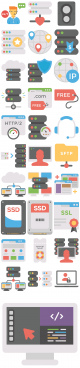 31 flat web hosting icons
