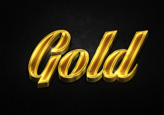 34 3d shiny gold text effects preview