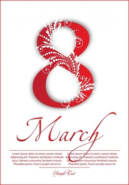 woman day banner red number calligraphic floral decor