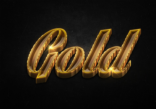 3 3d shiny gold text effects preview