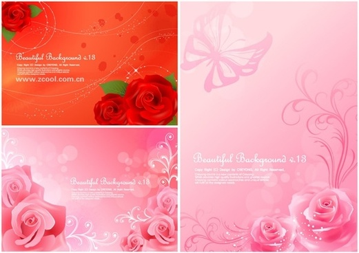 3 beautiful roses background vector