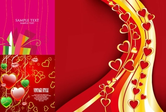 3 beautiful valentine day vector elements