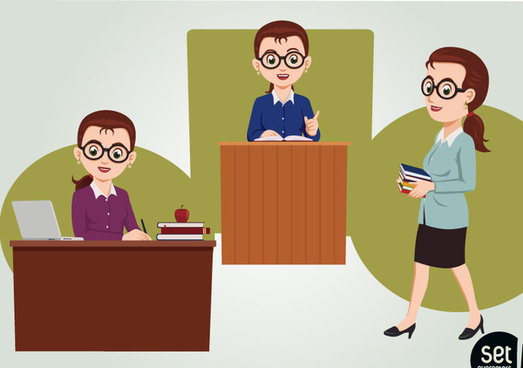 3 cartoon female teachers vector