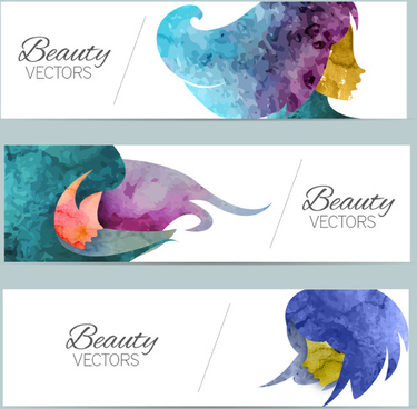 3 color head women banner vector