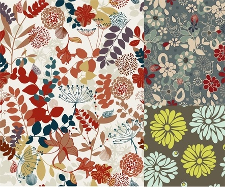 3 colorful plant pattern vector