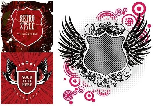 3 european nostalgic theme vector shield
