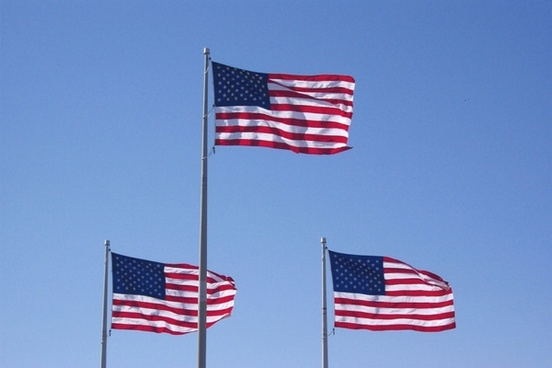 3 flags usa blowing in the wind